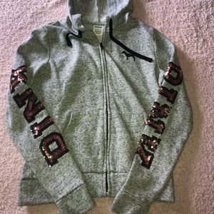 gray and sparkly PINK zip up